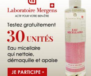 Testez gratuitement l'eau micellaire du Laboratoire Mergens