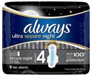 Testez gratuitement les serviettes hygiéniques avec ailettes ALWAYS Ultra Secure Night