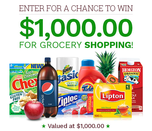 Get a chance to win $1,000 for grocery shopping